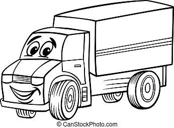 engraçado, coloração, caminhão, livro, caricatura