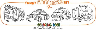 engraçado, coloração, carros, jogo, pequeno, eyes., livro