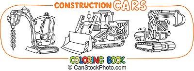 engraçado, coloração, constuction, carros, set., livro