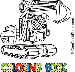 engraçado, coloração, escavador, livro, pequeno, eyes.