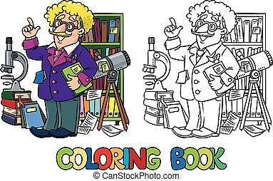 engraçado, coloração, ou, cientista, livro, inventor