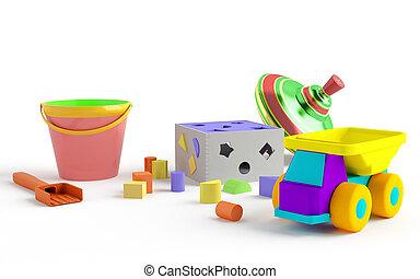 ENGRAÇADO, colorido, isolado, crianças, fundo, brinquedos, branca