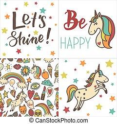 engraçado, colorido, unicórnios, pattern., seamless, texto, retro, cartões, adesivos