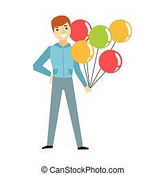 engraçado, coloridos, pessoas, série, bêbado, parte, segurando, balões, divertimento, partido, sujeito, tendo, grupo