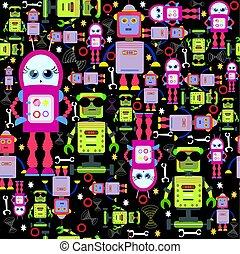 engraçado, coloridos, seamless, robôs, vetorial, fundo, black.