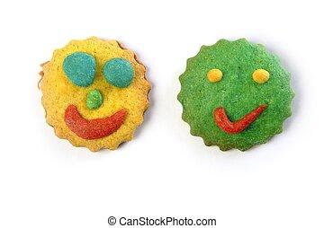 engraçado, coloridos, smiley, forma, caras, biscoitos, redondo