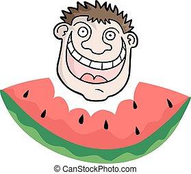 engraçado, comendo melancia, rosto