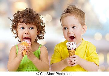 engraçado, comer, menino, gelo, menina, creme