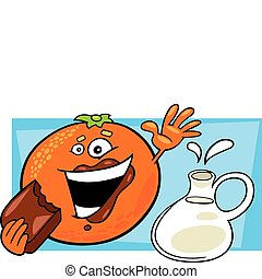 engraçado, comer, pote, chocolate, laranja, leite