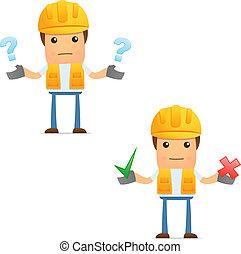 engraçado, construtor, jogo, caricatura