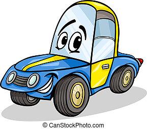 engraçado, correndo, caricatura, ilustração, car