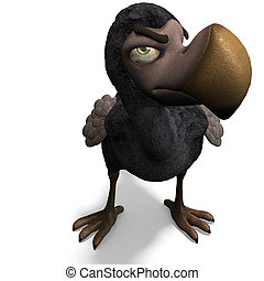 engraçado, cortando, fazendo, muito, sobre, dodo-bird., toon...