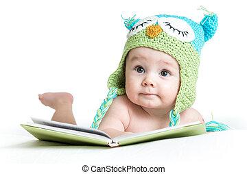 engraçado, coruja, tricotado, livro, fundo, bebê, chapéu branco