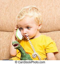 engraçado, criança, com, telefone