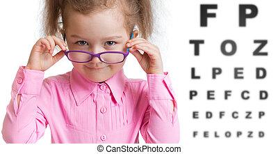 engraçado, criança, espetáculos, em, oftalmologista,...