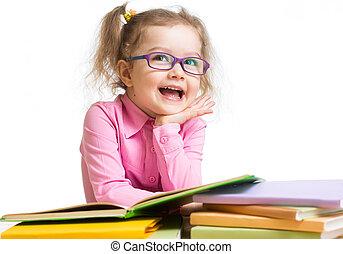 engraçado, criança, menina, em, óculos, leitura, livros