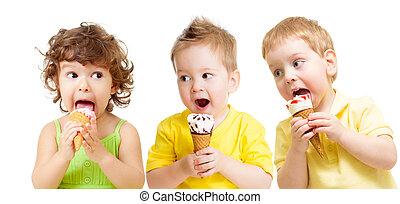 engraçado, crianças, grupo, isolado, icecream