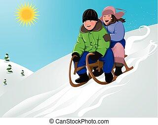 engraçado, crianças, sledding