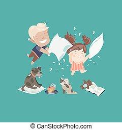 engraçado, crianças, tendo, combate travesseiro