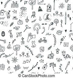 engraçado, criativo, desenho, seamless, padrão