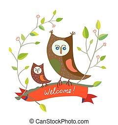 engraçado, cute, bem-vindo, -, desenho, coruja, cartão