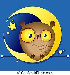 engraçado, cute, ilustração, lua, fundo, multi-colorido, coruja