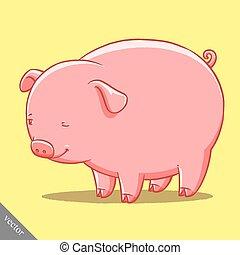 engraçado, cute, ilustração, porca, vetorial, gorda, caricatura
