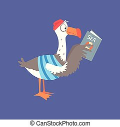 engraçado, cute, personagem, livro cômico, ilustração, caricatura, vetorial, gaivota, leitura, pássaro