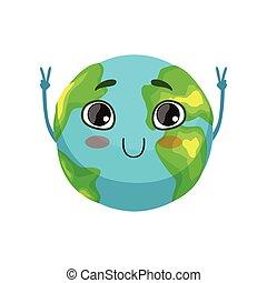 engraçado, cute, sinal, mostrando, smiley, personagem, ilustração, rosto, planeta, vetorial, vitória, mãos, globo terra