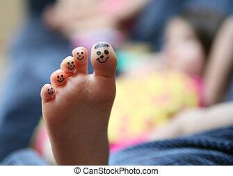 engraçado, dedos pé, rosto