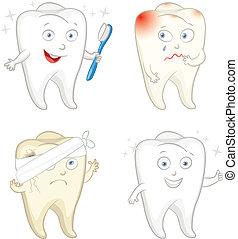 engraçado, dente, com, escova de dentes
