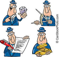 engraçado, desenhos animados, homem negócio