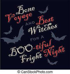 engraçado, dia das bruxas, saudações, (vector)