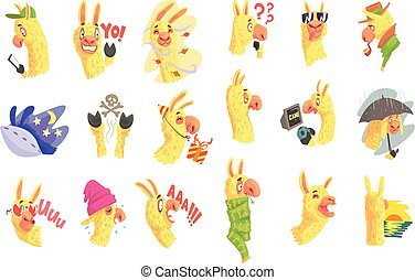 engraçado, diferente, alpaca, coloridos, situações, posar, caráteres, ilustrações, caricatura, emoji