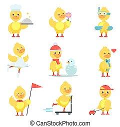 engraçado, diferente, cute, jogo, situações, duckling, amarela, vetorial, caráteres, pato, ilustrações, poses, caricatura