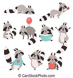engraçado, diferente, cute, situações, personagem, cobrança, vetorial, ilustração, animal, guaxinim, caricatura