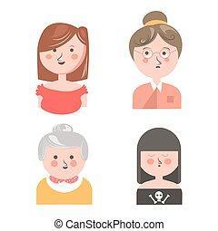 engraçado, diferente, jogo, isolado, avatars, gerações, mulheres