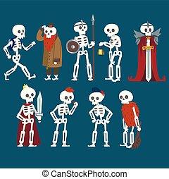 engraçado, diferente, jogo, situações, personagem, morto, esqueletos, zombie, vetorial, ilustração, human, poses, caricatura, homem