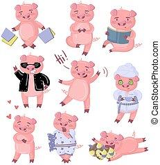 engraçado, diferente, jogo, situações, porca, vetorial, piggy, caráteres, ilustrações, poses, caricatura