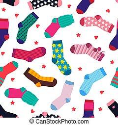 engraçado, diferente, padrão, seamless, meias, vetorial