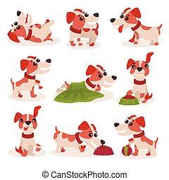engraçado, diferente, russell, cute, jogo, situações, cão, vetorial, macaco, caráteres, ilustrações, poses, terrier
