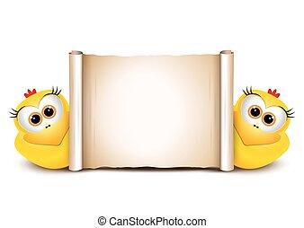 engraçado, dois, chicken., desenho, páscoa, template., cartão