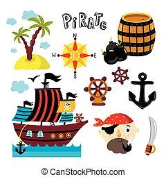 engraçado, elementos, isolado, fundo, branca, pirata