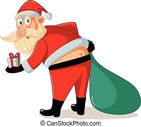 engraçado, embaraçoso, presentes natal, momento, santa, caricatura