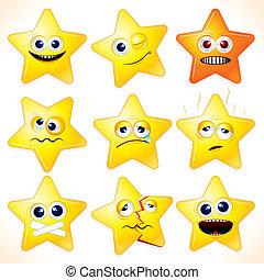 engraçado, emoticons, estrelas