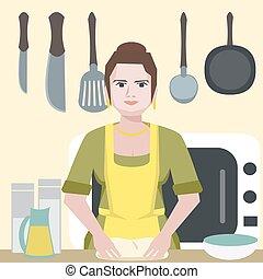 engraçado, entusiástico, mulher, personagem, cozinha