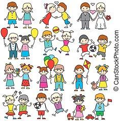 engraçado, esboço, jogo, image., coloridos, crianças, tocando