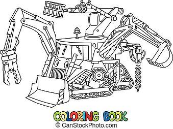 engraçado, escavadora, coloração, ferramenta, multi, livro, pequeno