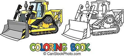 engraçado, escavadora, tinja livro, pequeno, eyes.