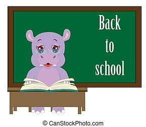 engraçado, escola, ao redor, quadro-negro, fundo, costas, palavras, hipopótamo